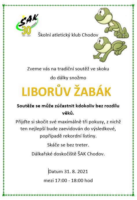 pozvánka na soutěž ve skoku Liborův žabák